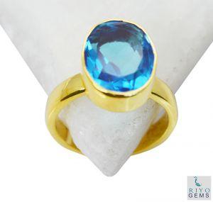 Buy Riyo Blue Topaz Cz Plated Gold Jewelry Purity Ring Jewelry Sz 7 Gprbtcz7-92046 online