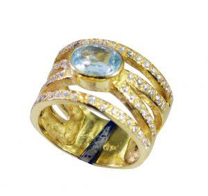 Buy Riyo Blue Topaz Cz Gold Plate Jewellery Cameo Ring Sz 7 Gprbtcz7-92077 online