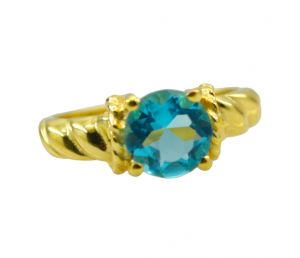 Buy Riyo A Blue Topaz Cz 18kt Gold Plated Sophisticated Ring Gprbtcz70-92101 online