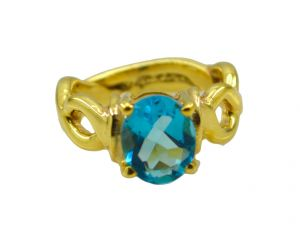 Buy Riyo A Blue Topaz Cz 18kt Gold Plated Streamlined Ring Gprbtcz70-92113 online