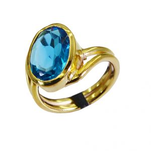 Buy Riyo Blue Topaz Cz 18-kt Y Gold Fashion Cameo Ring Sz 7.5 Gprbtcz7.5-92020 online