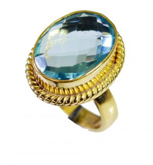 Buy Riyo Blue Topaz Cz 18c Y Gold Plated Friendship Ring Sz 7.5 Gprbtcz7.5-92062 online