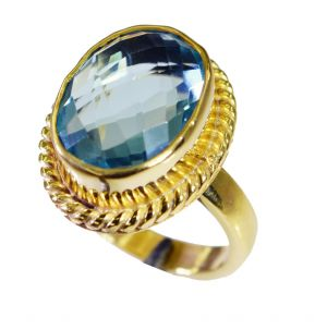 Buy Riyo Blue Topaz Cz 18 Ct Gold Plating Gimmal Ring Sz 7.5 Gprbtcz7.5-92063 online