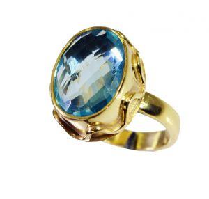 Buy Riyo Blue Topaz Cz 18kt Y Gold Plating Mothers Ring Sz 7.5 Gprbtcz7.5-92065 online