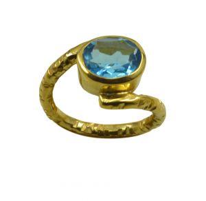 Buy Riyo A Blue Topaz Cz 18kt Gold Plated Sparkly Ring Gprbtcz75-92134 online