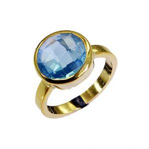 Buy Riyo Blue Topaz Cz 18.kt Gold Plating Claddagh Ring Sz 8 Gprbtcz8-92024 online