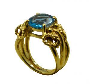 Buy Riyo A Blue Topaz Cz 18kt Gold Plated Streamlined Ring Gprbtcz80-92096 online