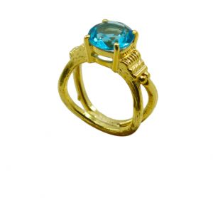 Buy Riyo A Blue Topaz Cz 18kt Gold Plated Subtle Ring Gprbtcz80-92117 online