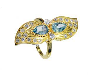 Buy Riyo Blue Topaz Cz Wholesale Gold Plate Aqiq Ring Sz 8.5 Gprbtcz8.5-92080 online