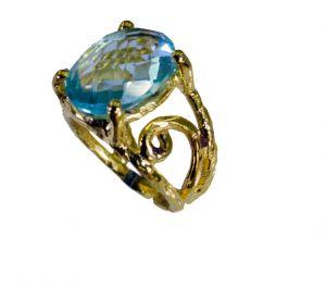 Buy Riyo Blue Topaz Rhodium Plate Classic Day Rings online