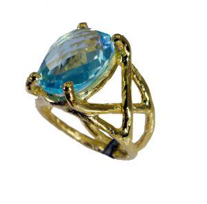 Buy Riyo Blue Topaz 18kt Y.g. Plated Friendship Ring Sz 5.5 Gprbto5.5-10005 online