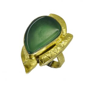 Buy Riyo A Green Onyx 18kt Gold Plated Hand Crafted Ring Gprgon80-30082 online