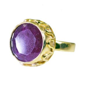 Buy Riyo Indi Ruby Jewelry Gold Plated Aqiq Ring Sz 6 Gpriru6-34042 online
