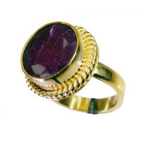 Buy Riyo Indi Ruby Gold Plate Gimmal Ring Sz 6.5 Gpriru6.5-34049 online