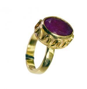 Buy Riyo Indi Ruby 18c Y Gold Plated Wedding Bands Sz 6.5 Gpriru6.5-34059 online
