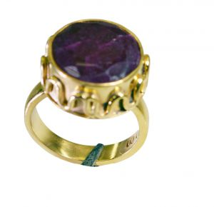 Buy Riyo Indi Ruby 18kt Y Gold Plating Eternity Ring Sz 7 Gpriru7-34062 online