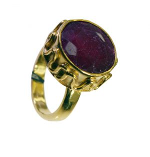 Buy Riyo Indi Ruby 18c Ygold Plating Signet Ring Jewelry Sz 7.5 Gpriru7.5-34088 online