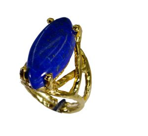 Buy Riyo Lapis Lazuli 18k Y Gold Plate Cameo Ring Sz 5.5 Gprlla5.5-44058 online