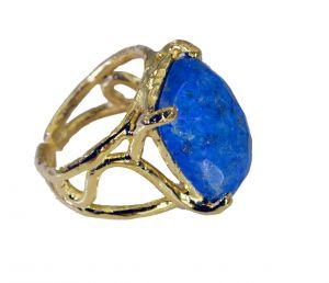 Buy Riyo Lapis Lazuli Plated Gold Jewelry Ring Sz 6 Gprlla6-44092 online