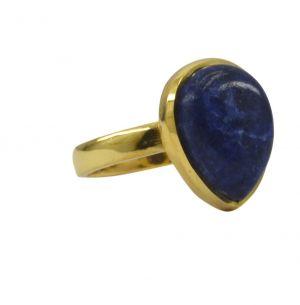 Buy Riyo Blue Lapis Lazuli 18kt Gold Plated Flirty Ring Gprlla75-44095 online