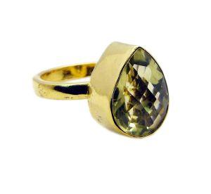 Buy Riyo Lemon Quartz Gold Plated Online Engagement Ring Sz 8 Gprlqu8-46012 online