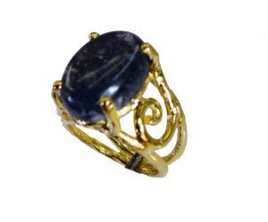 Buy Riyo Moss Agate 18c Ygold Plating Finger Armor Ring Sz 6.5 Gprmoa6.5-51005 online