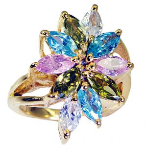 Buy Riyo Cz 18kt Y.g. Plated Beautiful Ring Sz 7.5 Gprmucz7.5-116008 online