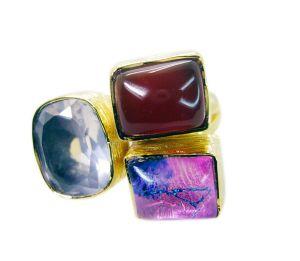 Buy Riyo Rose Quartz 18k Y Gold Plate Engagement Ring Sz 6 Gprmul6-52008 online