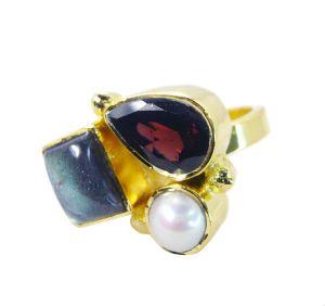 Buy Riyo Labradorite 18 Ct Y.g. Plated Bridal Rings Sz 7 Gprmul7-52057 online