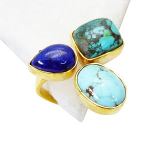 Buy Riyo Turquoise 18 Ct Gold Plating Cameo Ring Sz 8 Gprmul8-53019 online