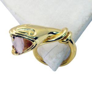 Buy Riyo Rose Quartz 18ct Ygold Plate Sports Ring Sz 5 Gprroq5-68050 online