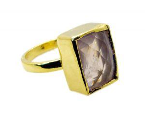 Buy Riyo Rose Quartz Gold Polish Engagement Ring Sz 9 Gprroq9-68033 online