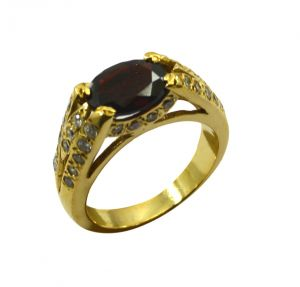 Buy Riyo Red Ruby Cz 18kt Gold Plated Glittering Ring Gprrucz70-104050 online