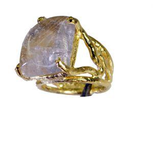 Buy Riyo Rutilated Quartz Gold Polish Eternity Ring Sz 5 Gprruq5-70012 online
