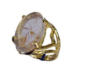 Buy Riyo Rutilated Quartz 18kt Gold Plating Cocktail Ring Sz 6 Gprruq6-70019 online
