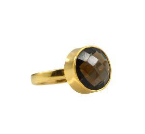 Buy Riyo Brown Smoky Quartz 18kt Gold Plated Artisan Ring Gprsqu60-76094 online