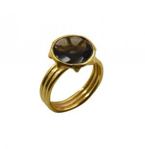 Buy Riyo Brown Smoky Quartz 18kt Gold Plated Antique Ring Gprsqu80-76092 online