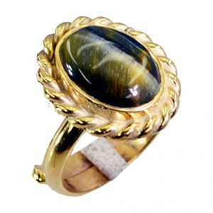 Buy Riyo Tiger Eye 18.kt Y Gold Plated Aqiq Ring Sz 6 Gprtey6-80023 online
