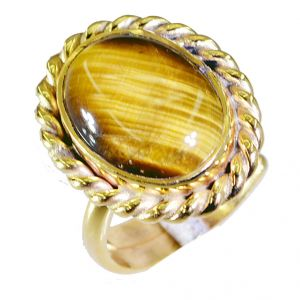 Buy Riyo Tiger Eye 18.kt Gold Platings Gimmal Ring Sz 6.5 Gprtey6.5-80030 online