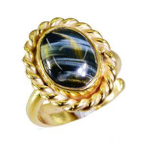 Buy Riyo Tiger Eye 18-kt Gold Plated Guard Ring Sz 6.5 Gprtey6.5-80031 online