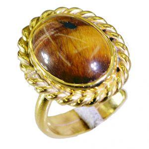 Buy Riyo Tiger Eye 18c Ygold Plating Thumb Ring Sz 7.5 Gprtey7.5-80039 online