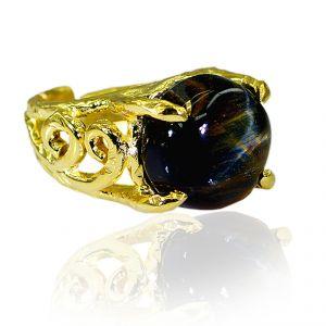Buy Riyo Tiger Eye 18kt Y Gold Plating Purity Ring Jewelry Sz 8 Gprtey8-80013 online