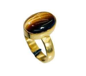 Buy Riyo Tiger Eye 18ct Ygold Plate Cocktail Ring Sz 8 Gprtey8-80050 online