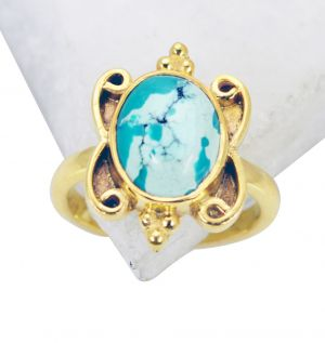 Buy Riyo Turquoise 18c Y Gold Plated Wedding Ring Jewelry Sz 5 Gprtur5-82089 online
