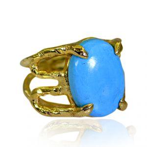 Buy Riyo Turquoise 18 Kt Gold Platings Finger Armor Ring Sz 5 Gprtur5-82190 online
