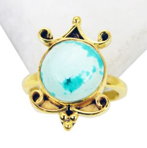 Buy Riyo Turquoise 18 Ct Gold Plated Guard Ring Sz 6 Gprtur6-82112 online