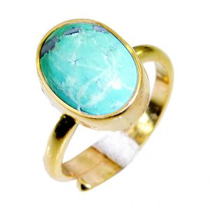 Buy Riyo Turquoise 18kt Y.g. Plated Eternity Ring Sz 7 Gprtur7-82058 online