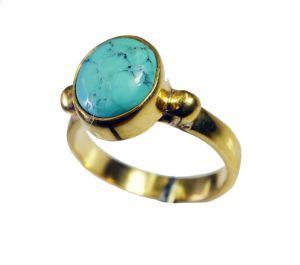 Buy Riyo Turquoise 18-kt Gold Plating Gimmal Ring Sz 7 Gprtur7-82144 online