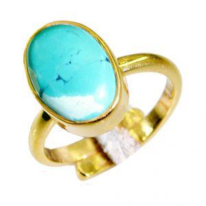 Buy Riyo Turquoise 18k Y Gold Plate Bridal Rings Sz 7.5 Gprtur7.5-82064 online