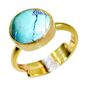 Buy Riyo Turquoise 18-kt Y Gold Fashion Guard Ring Sz 8 Gprtur8-82079 online